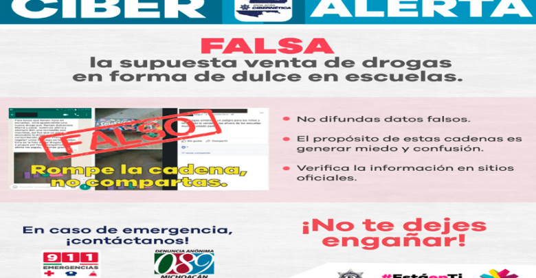 Falso que se venda droga en forma de dulces en escuelas: Policía Cibernética