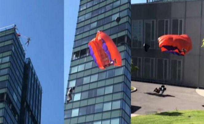 Se rompe las piernas luego de un salto fallido en paracaídas