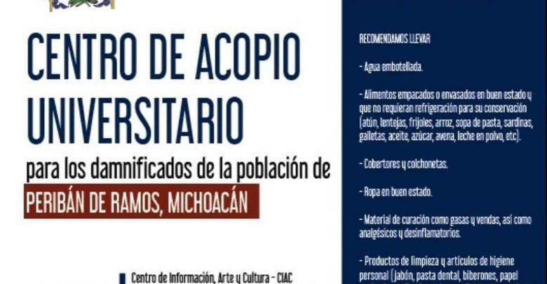 Habilitan Nicolaitas Centro de Acopio en apoyo a Peribán