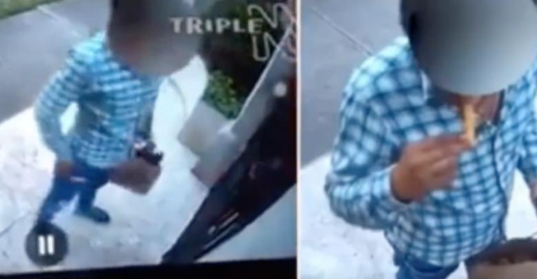 VIDEO: Exhiben a repartidor de UberEATS por comer del pedido de un cliente