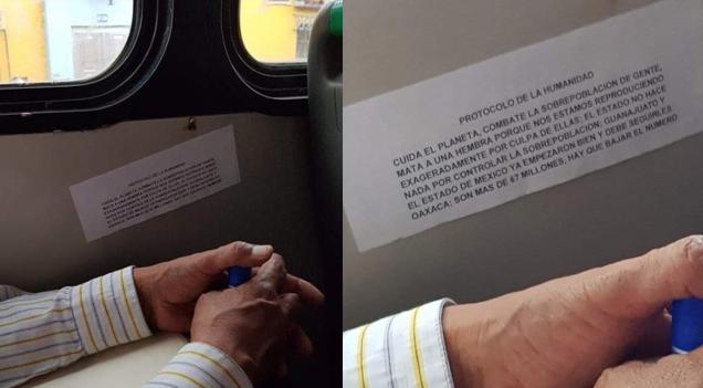 Colocan mensajes en transporte público incitando al feminicidio