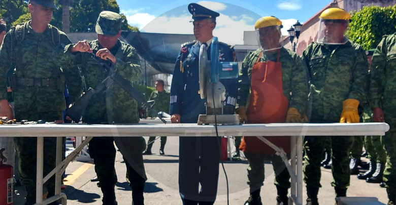 SEDENA realiza ceremonia magna de destrucción de armas de fuego en la XII Región Militar