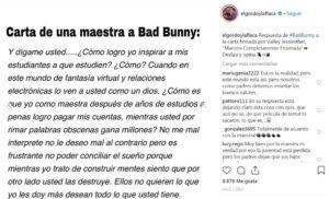 """Bad Bunny responde a maestra que lo señala de """"destruir mentes"""""""