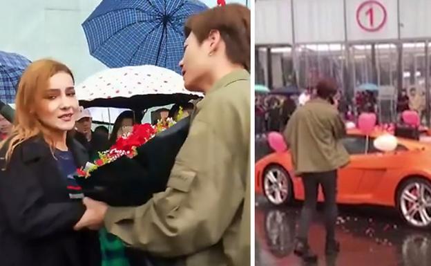 VIDEO: Un hombre pide la mano a una joven comprándole un Lamborghini y ella lo rechaza