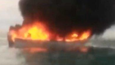 VIDEO: Se incendia barco en costas de Sonora y desaparecen tres pescadores; uno tenía 14 años