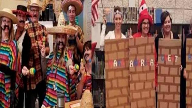 """Suspenden a maestros por disfrazarse de """"mexicanos"""" y del muro de Trump"""