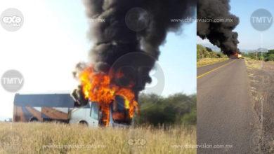 Criminales queman autobús de pasajeros en Buenavista, se manifestaron en contra de autoridades