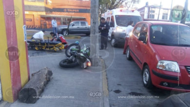 Motociclista queda herido en choque contra un auto en Morelia