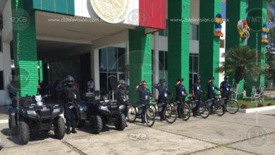 """""""Policletos"""" en Michoacán, elementos uniformados y armados a bordo de bicicletas"""