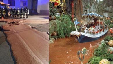 Río de chocolate inunda las calles tras derrame en una fábrica