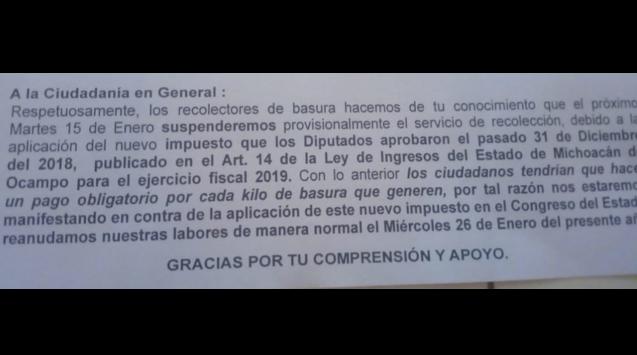 En Morelia, a partir de este martes, recolectores de basura suspenderán servicio