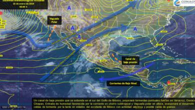 Lluvias puntuales fuertes en Veracruz, Oaxaca y Chiapas; además, ambiente frío en gran parte del país