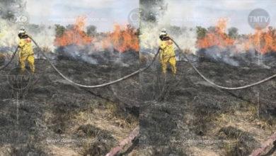 Bomberos apagan incendio y evitan que se propague en Apatzingán