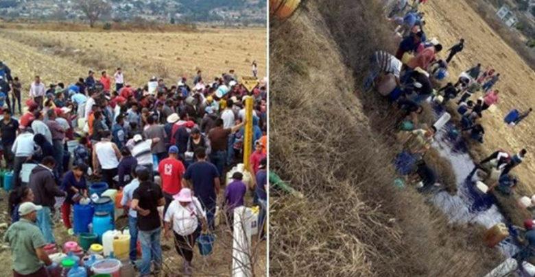 Gente se une para saquear toma clandestina de combustible en EdoMex