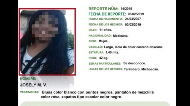 En Morelia: Niña reportada como desaparecida es hallada muerta en una vivienda
