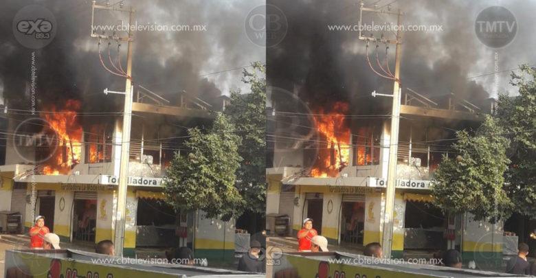 Incendio deja en cenizas una tortillería en Buenavista