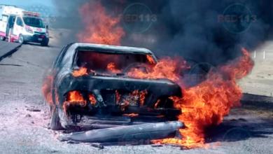 Vehículo se incendia en la Autopista Morelia-Salamanca
