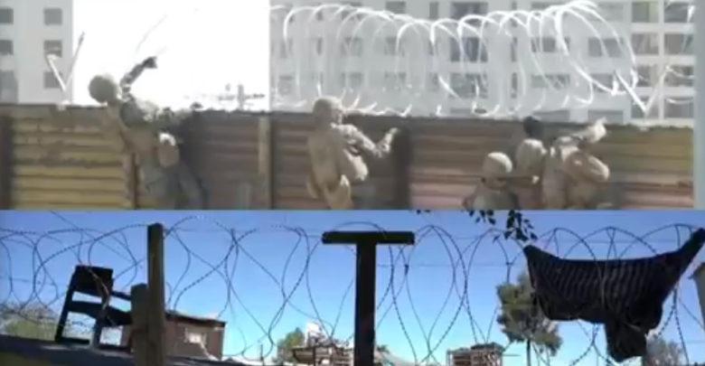 Tijuanenses se protegen de la delincuencia robándose los alambres de púas del muro de Trump