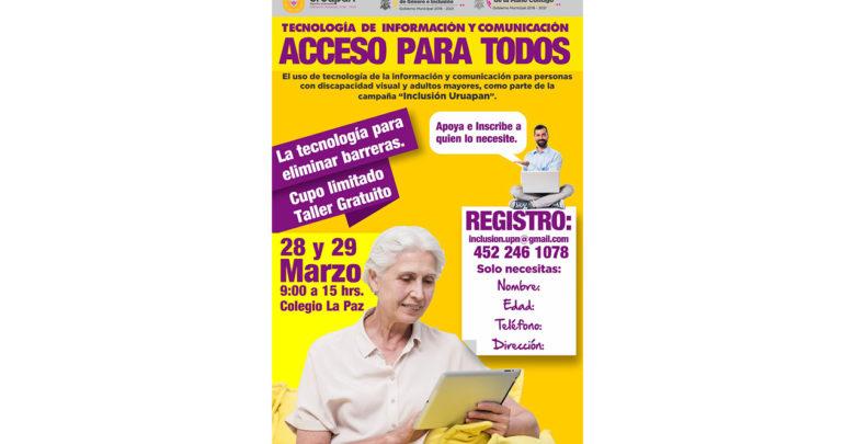 """Impartirán talleres """"Acceso Para Todos"""" a personas con discapacidad visual y adultos mayores"""