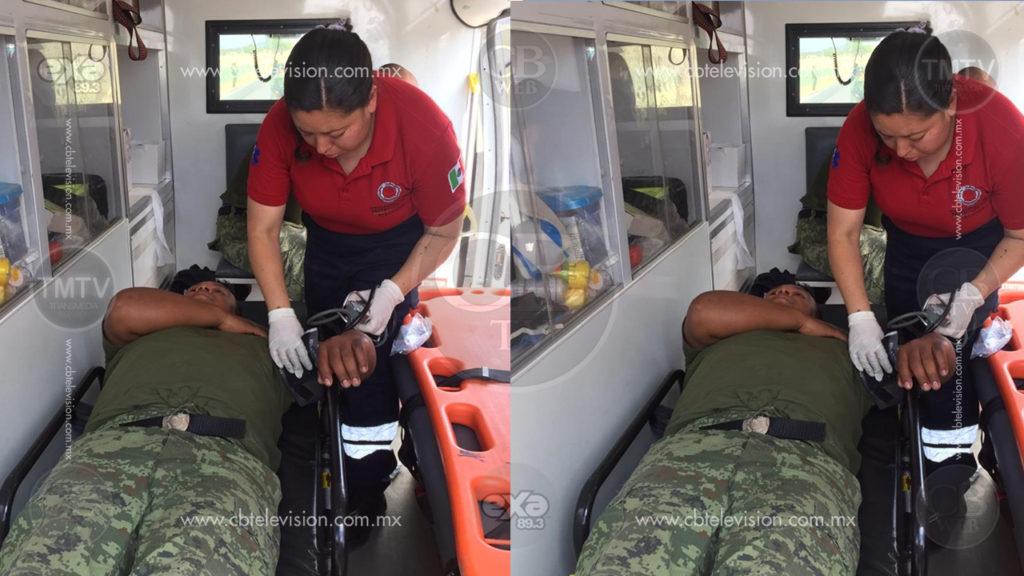 Vuelca camión con militares; hay seis heridos