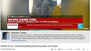 Atacan a YouTube por relacionar incendio de Notre Dame con el 11 de septiembre
