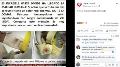 ¿Frutas con manchas rojas están contaminadas con VIH?