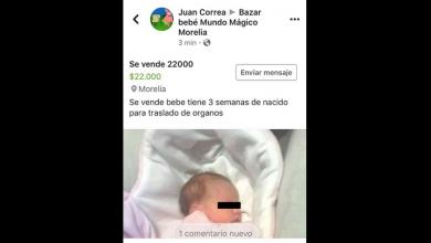 Ofrecen en venta en Facebook a bebé en Morelia
