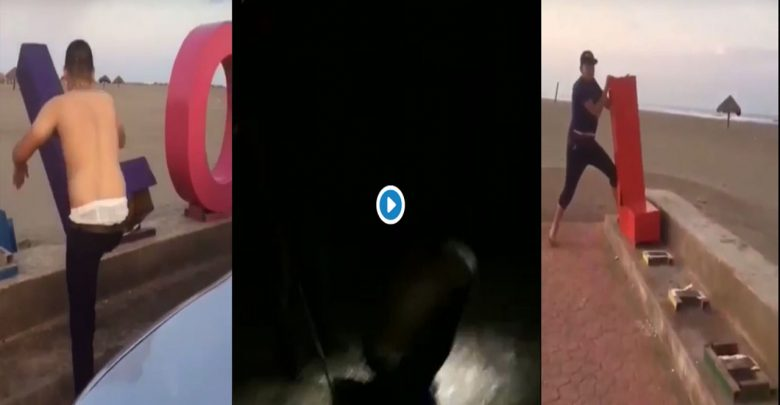 VIDEO (+18): Cártel de Sinaloa castiga a joven por vandalizar letras turísticas