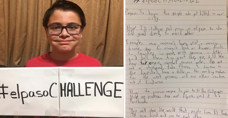 Niño crea #ElPasoChallenge para honrar a víctimas del atentado