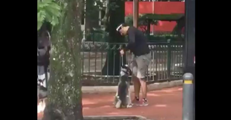 VIDEO: Entrenador ahorca a perro hasta dejarlo inconsciente en un parque de la CDMX