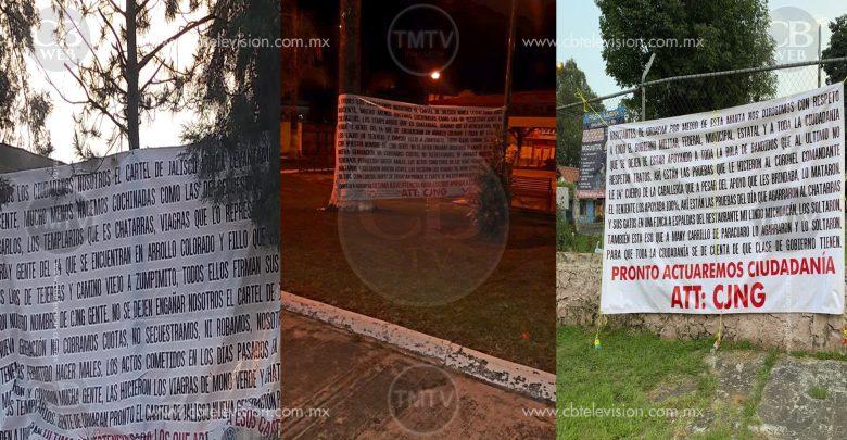 CJNG deja varias narcomantas en Michoacán