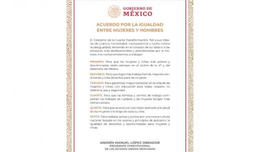 Photo of López Obrador firma Acuerdo por la Igualdad entre Mujeres y Hombres