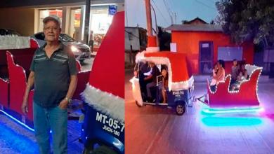 Photo of En México: Convierte su mototaxi en trineo, para pasear a niños