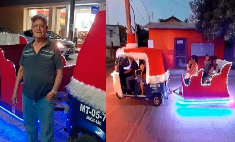 En México: Convierte su mototaxi en trineo, para pasear a niños