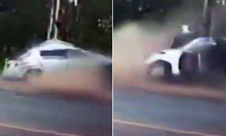 Video: Auto se parte en dos durante accidente; dos personas logran sobrevivir