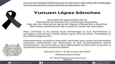 Photo of UMSNH exige justicia por la muerte de Yuni, mujer que fue secuestrada y asesinada en Morelia