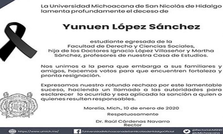 UMSNH exige justicia por la muerte de Yuni, mujer que fue secuestrada y asesinada en Morelia
