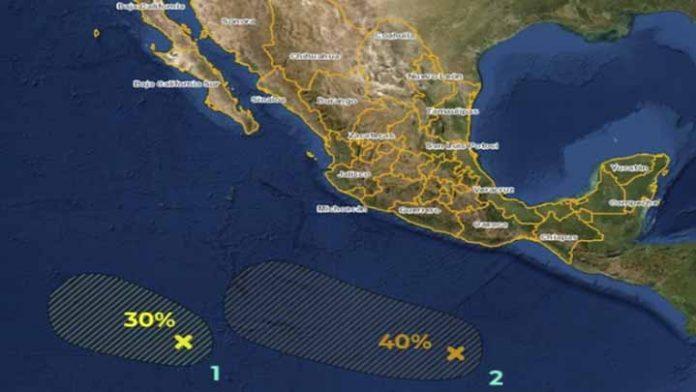 Mantienen bajo vigilancia 2 zonas de inestabilidad con potencial ciclónico en el Pacífico mexicano